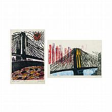 Antonio Frasconi NIGHT TRAFFIC; FROM BROOKLYN Color woodcuts (2)