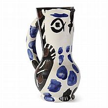Pablo Picasso  SMALL OWL JUG Painted and partially glazed white ceramic pitcher