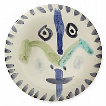 Pablo Picasso FACE NO. 144 (A.R. 480) Painted and glazed white ceramic plate, 1963, numbered 50/150, inscribed Edition...