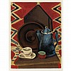 Man Ray STILL LIFE WITH COFFEE POT, CUP AND SAUCER Color lithograph, Man Ray, $500