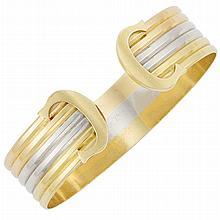 Tricolor Gold Bangle Bracelet, Cartier
