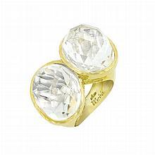 Hammered Gold and Rock Crystal Ring, David Webb