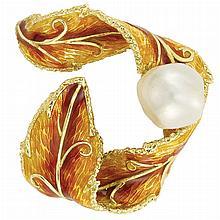 Gold, Semi-Baroque South Sea Cultured Pearl and Enamel Ribbon Brooch, Cellino