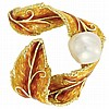 Gold, Semi-Baroque South Sea Cultured Pearl and Enamel Ribbon Brooch, Cellino