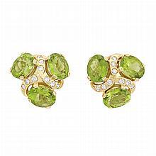 Pair of Gold, Peridot and Diamond Earclips, Verdura