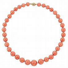 Coral Bead Necklace, by Seaman Schepps