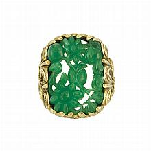 Gold and Carved Jade Ring