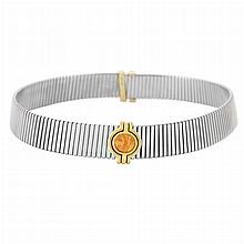 Stainless Steel, Gold and Orange Glass Intaglio 'Tubogas' Slide Choker Necklace, Bulgari