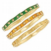 Three Gold and Enamel Bangle Bracelets, Van Cleef & Arpels