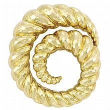 Hammered Gold Clip-Brooch, David Webb