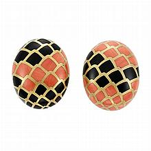 Pair of Gold, Coral and Black Onyx Earclips, Angela Cummings