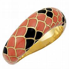 Gold, Coral and Black Onyx Bangle Bracelet, Angela Cummings