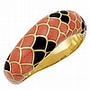Gold, Coral and Black Onyx Bangle Bracelet, Angela Cummings