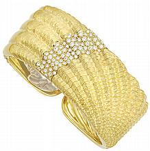 Gold and Diamond Cuff Bangle Bracelet