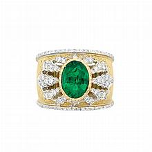 Wide Two-Color Gold, Emerald and Diamond Ring, Mario Buccellati