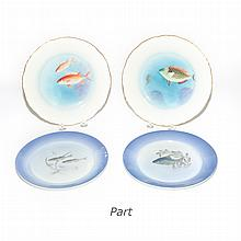 Set of Eight Royal Copenhagen Porcelain Fish Plates; Together with Eighteen Fish and Bird Decorated Plates