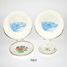 Set of 12 Royal Copenhagen Hand Painted Porcelain Fruit Plates;T/W 11 Royal Copenhagen Porcelain Bread Plates & 6 Steubenville Plates