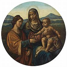 Follower of Leonardo da Vinci Madonna and Child with Saint Catherine