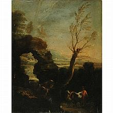 Circle of Salvator Rosa Drover in a Rocky Landscape