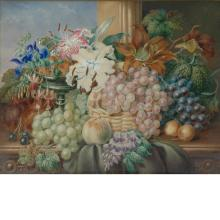 Emma Walter British, 19th Century Still Life with Grapes and Lilies
