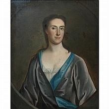 British School 18th Century Portrait of a Lady in a Blue Dress and Gray Shawl