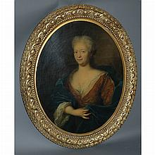 Circle of Pierre Mignard Portrait of a Noble Woman in a Blue Cloak