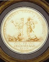 Charles Norbert Roettiers French, 17201772 Neptuneand a French Warrior Approaching Shore on a Shell Vessel: Design for a Medal