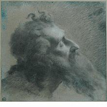 Attributed to Pierre Paul Prud'hon Study for a Head of Moses