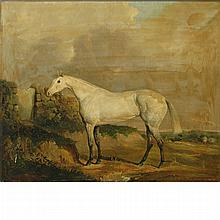 Joseph Dunn of Worcester English, 1806-1860 A Gray Racehorse in a Landscape, 1851