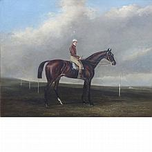 Follower of John Ferneley Jr. The Thoroughbred Racehorse Nutwith, Winner of the Great St. Leger Stakes at Doncaster in 1843, with Jo...