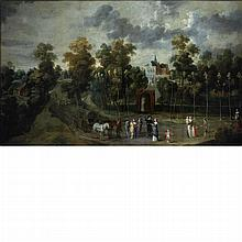 Circle of Jan Siberechts Figures on a Road before the Gate of a Country Estate
