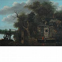 Attributed to Cornelis Decker Figures by an Old House Beside a River