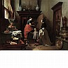 Hubertus van Hove and Baron Hendrik Leys Dutch, 1814-1865 and 1815-1869 Interior with a Boy Offering a Treat to a Dog