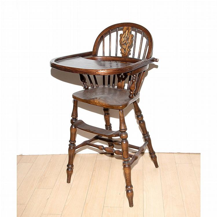 Windsor Style Oak Child's Highchair
