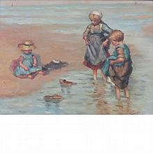 Jean Lefort French, b. 1948 Children on a Beach