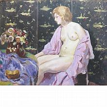 Jacques Mathey French, 1883-1973 Female Nude Seated in Front of a Japanese Screen