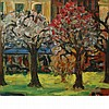 Sacha Moldovan Russian/American, 1901-1982 In a City Park   Signed Sasha Moldovan on the reverse Oil on ma...