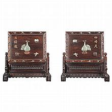 Pair of Chinese Jade and Hardstone Inset Rosewood Table Screens