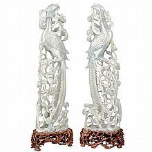 Pair of Chinese Jadeite Phoenix