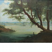American School 19th Century Landscape with Angler and Steamboat
