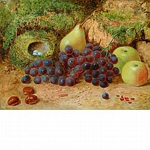 Attributed to George Clare Still Life of Fruit and a Bird's Nest in a Forest Interior