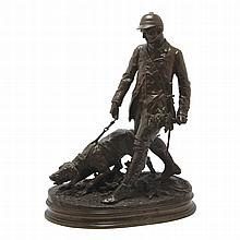 Pierre Jules Mene French, 1810-1879 Hunter with Bloodhound (Valet de Limier), 1879