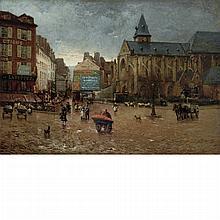 Henri Gaston Darien French, 1864-1926 Early Morning Near l'eglise de St. Medard, Paris, 1887