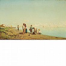 Natale Gavagnin Italian, 1851-1923 On the Beach, 1879