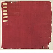 THE FORSTER FLAG  An American Revolutionary War era silk flag comprised of a field of fine red silk, a canton of numerous stitched l...