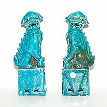 Pair of Chinese Turquoise Glazed Porcelain Figures of Fu Dogs