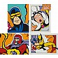 Crash American, b. 1961 (i) Wolverine, (ii) Magneto, (iii) Storm, (iv) Cyclops, Set of four color screenprints, 2000