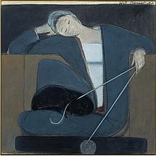 Will Barnet American, 1911-2012 Study for Woman Cat and Yarn/Untitled, Study with Cat, Bird and Ball, 1981   Signe...