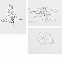 Alex Katz American, b. 1927 (i) Untitled (Woman at Lobster Restaurant) (ii) Untitled (Couple) (iii) Untitled (Seated Woman)