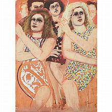 Lester Johnson American, 1919-2010 City Group with Blondes Smoking, 1977